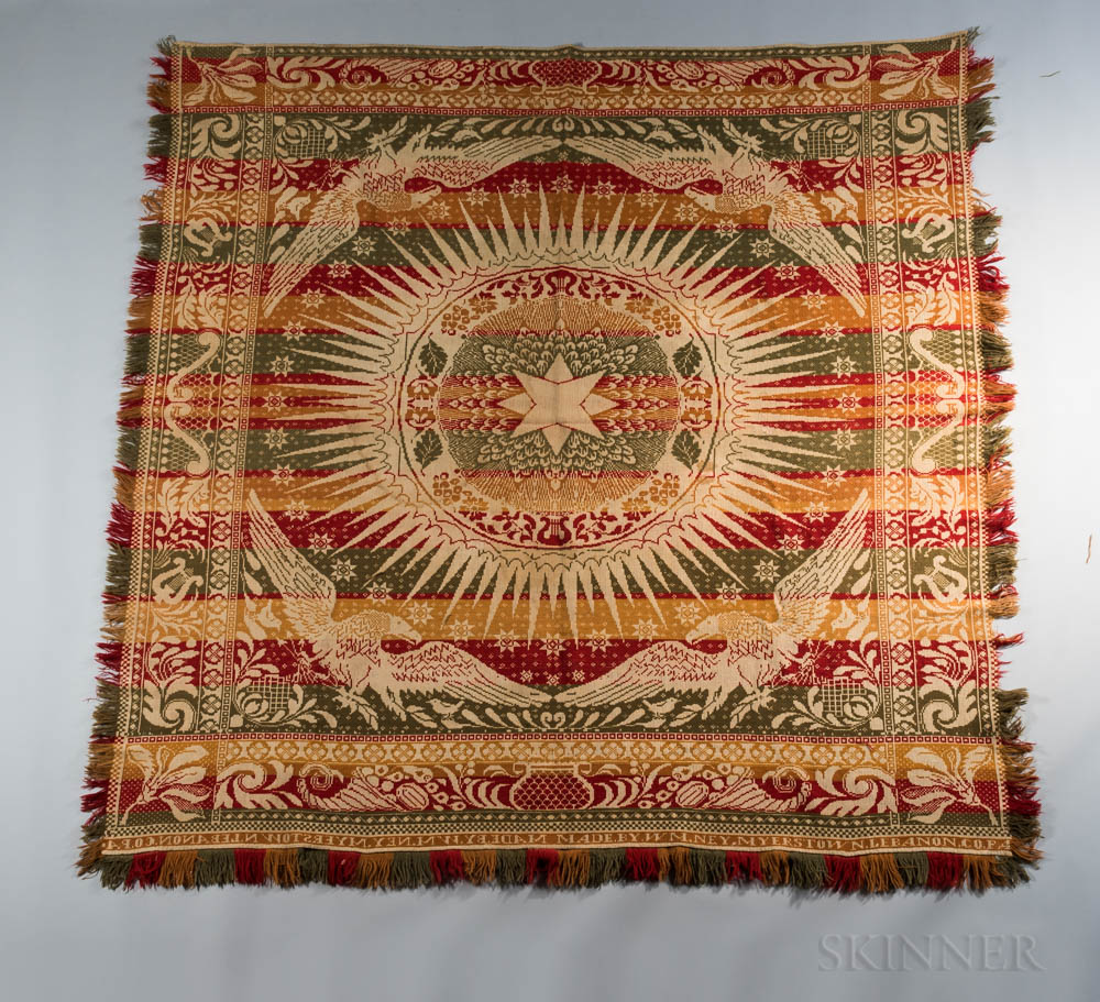 Red, Green, Orange, and White Woven Wool Coverlet