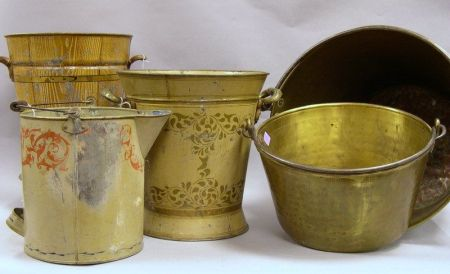 Three Paint Decorated Tin Buckets and Two Brass and Wrought Iron Kettles.