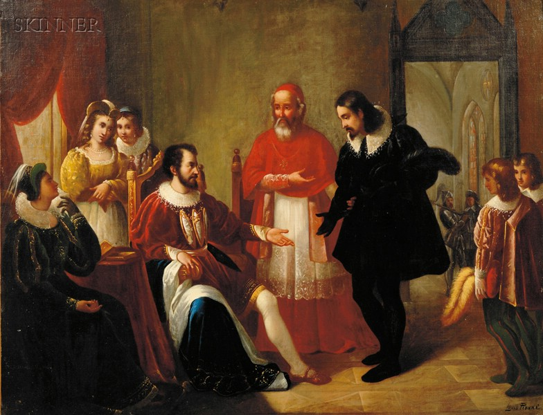 Louis Pisani (Italian, 19th Century) Cardinal d Este Presenting Torquato Tasso to the Duke of Ferrara and...