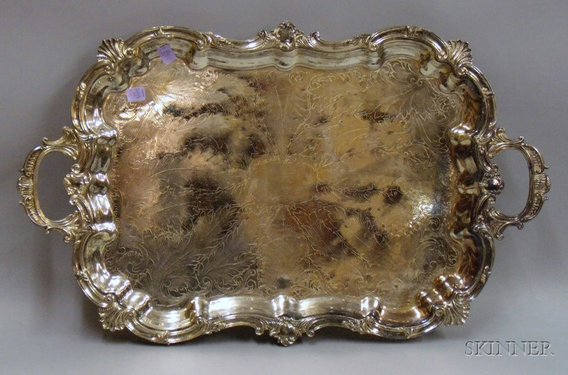 Silver Plated Handled and Footed Tea Tray