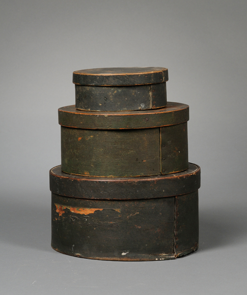 Three Painted Round Wooden Lap-sided Boxes with Covers