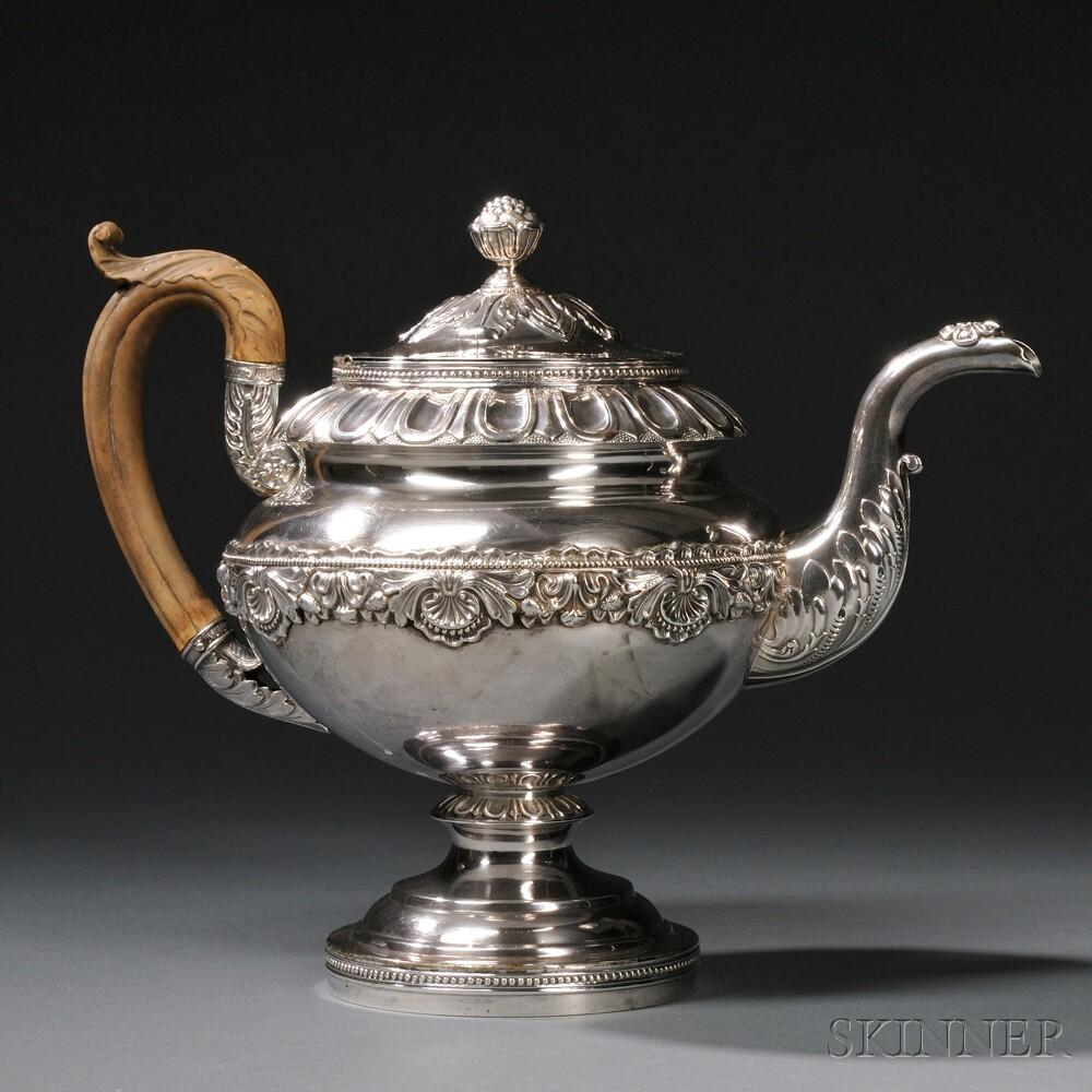 Late Federal Period Coin Silver Teapot