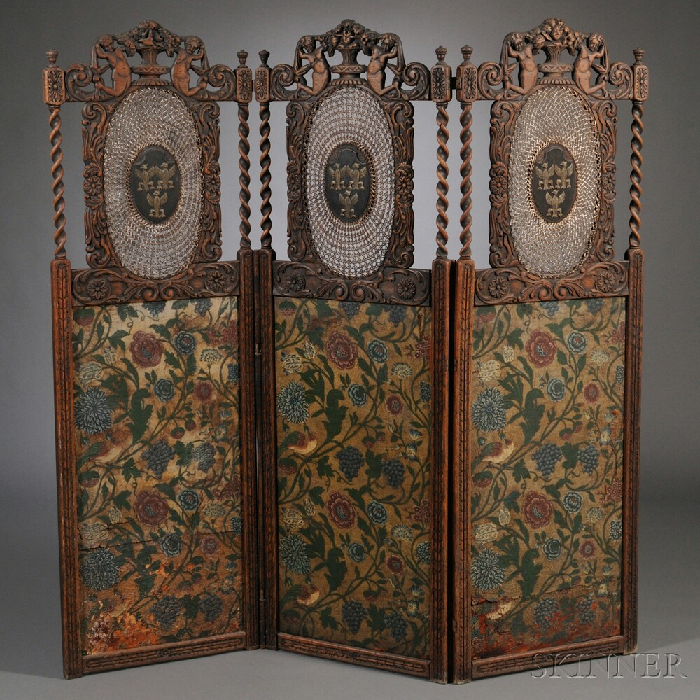 Continental Jacobethan-style Three-panel Carved Oak, Caned, and Painted Leather   Floor Screen