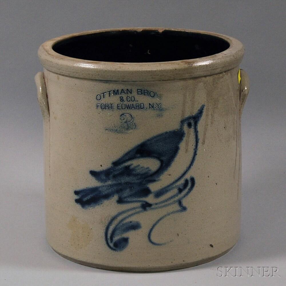 Ottman Bros. Cobalt-decorated Stoneware Crock