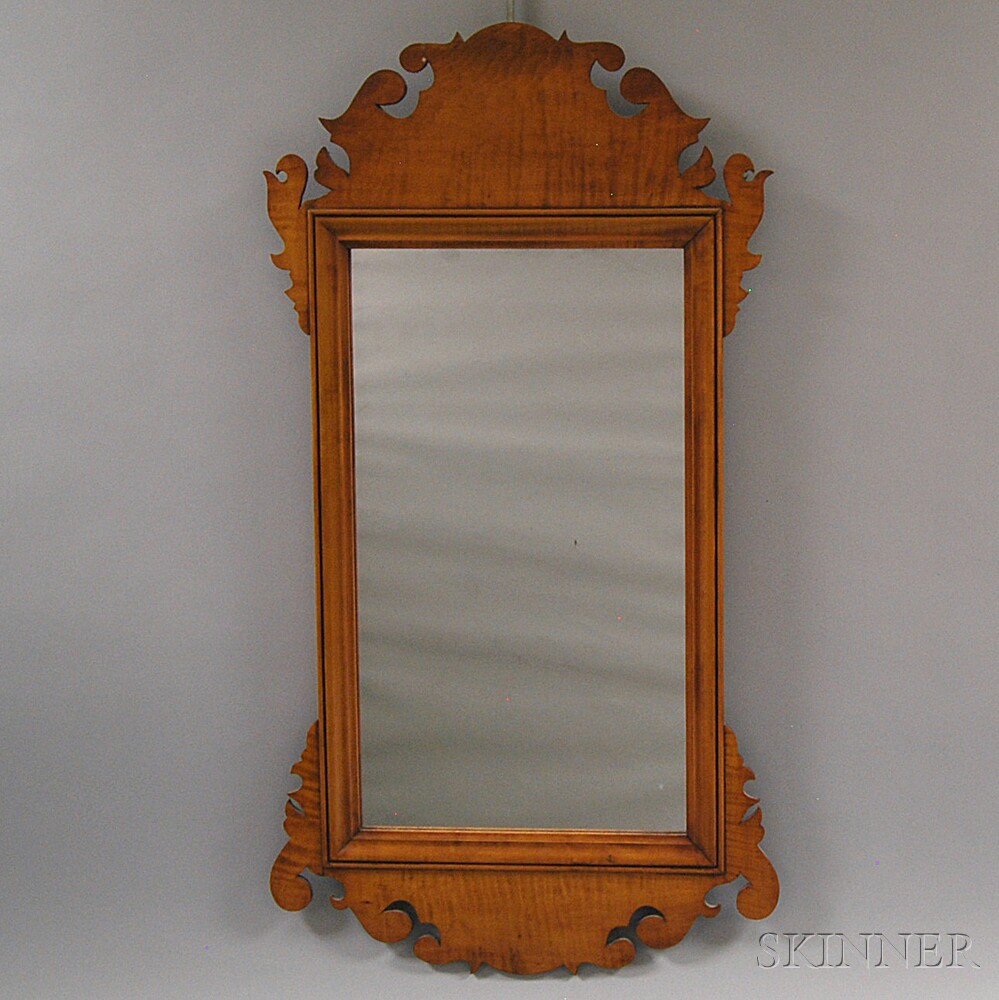 Eldred Wheeler Chippendale-style Tiger Maple Scroll-frame Mirror
