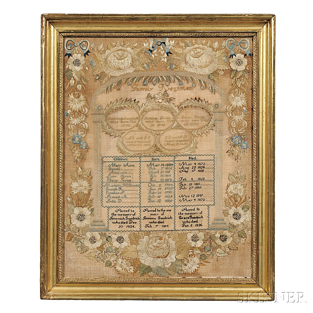 Needlework Goodrich Family Record