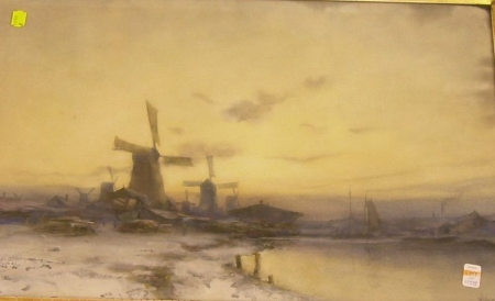 Framed Watercolor of a Harbor View with Windmills