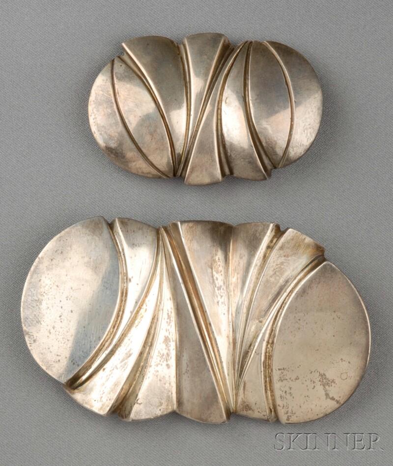 Two Sterling Silver Belt Buckles, Mark Heinlein