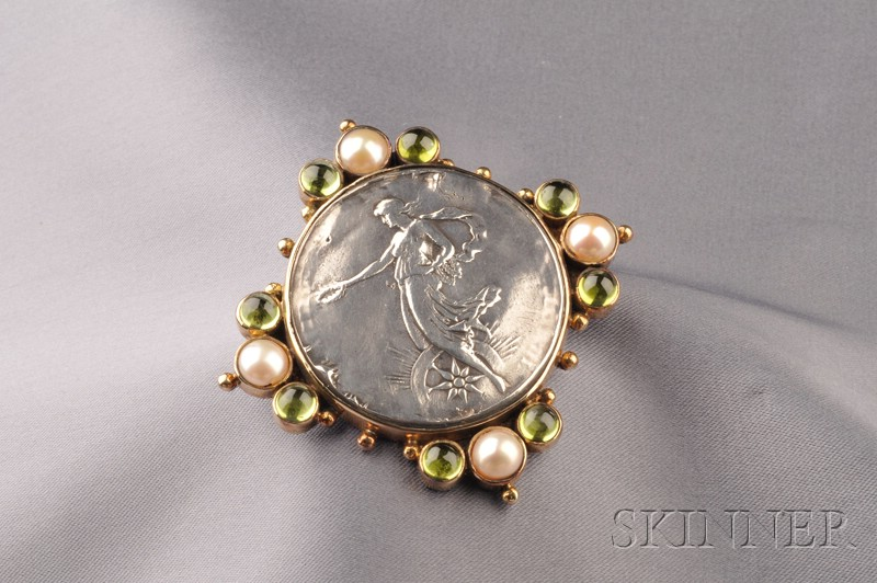 Sterling Silver, 18kt Gold, Peridot, and Cultured Pearl Pendant/Brooch
