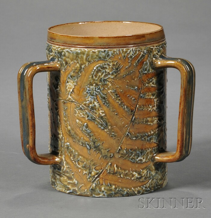 Doulton Lambeth Leaf Decorated Stoneware Three-handled Tankard