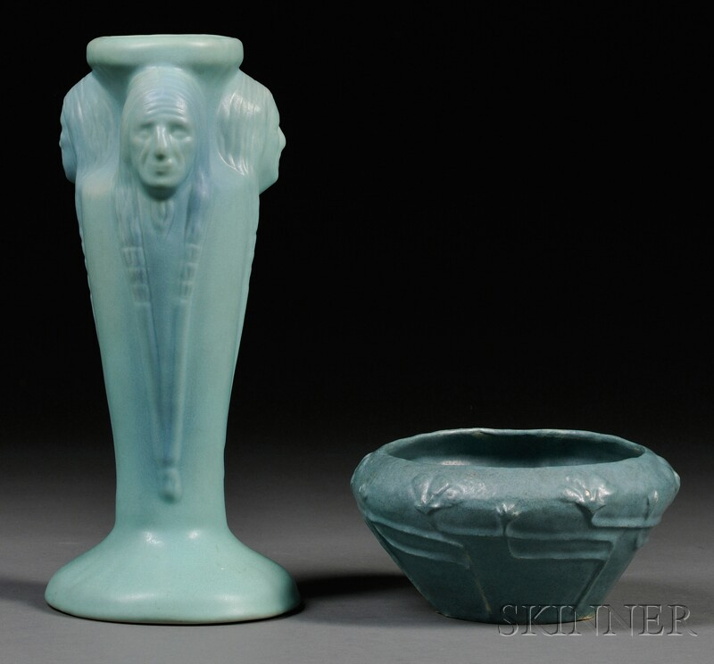 Van Briggle Pottery Indian Vase and 1910 Art Pottery Bowl