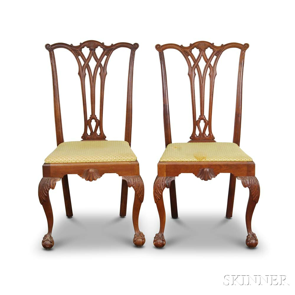 Pair of Chippendale-style Carved Mahogany Side Chairs.     Estimate $200-300