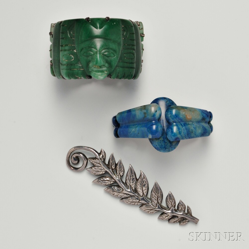Two Hardstone Bracelets and a Victoria Silver Pin