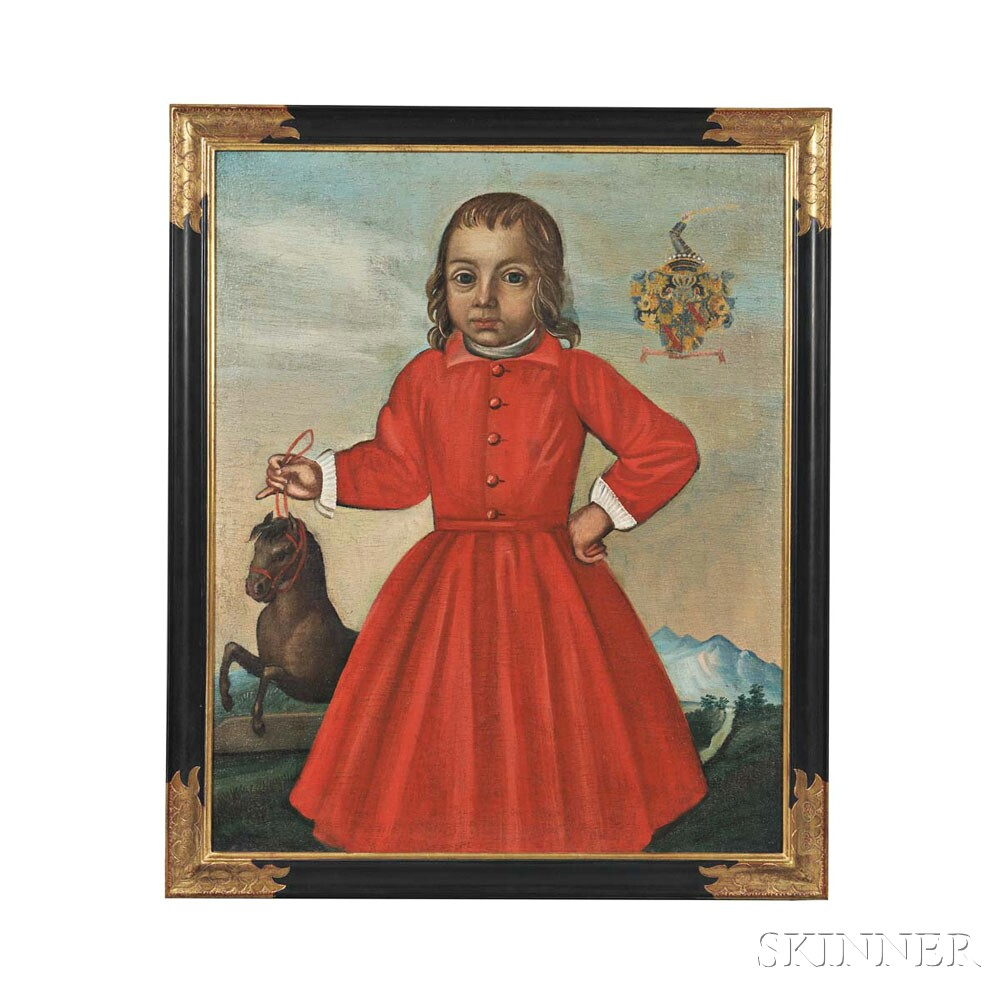 Spanish Colonial School, 19th Century      Standing Portrait of a Boy in Red