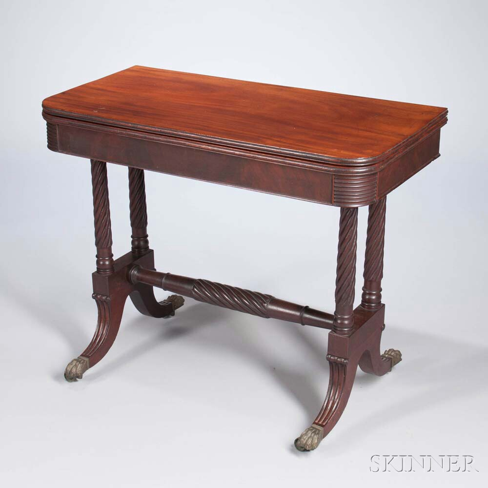 Carved Mahogany and Mahogany Veneer Card Table