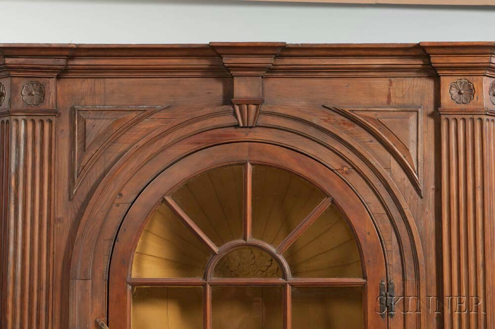 Glazed Carved Pine Barrel-back Corner Cupboard