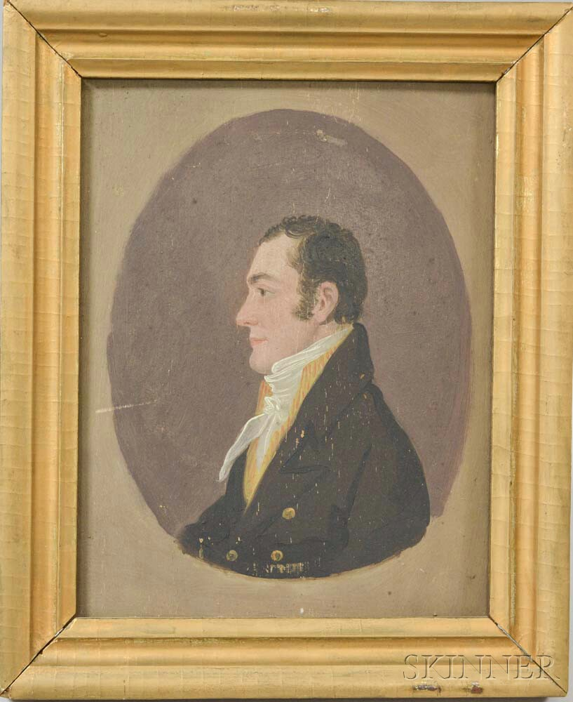 American School, 19th Century       Profile Portrait of a Man.