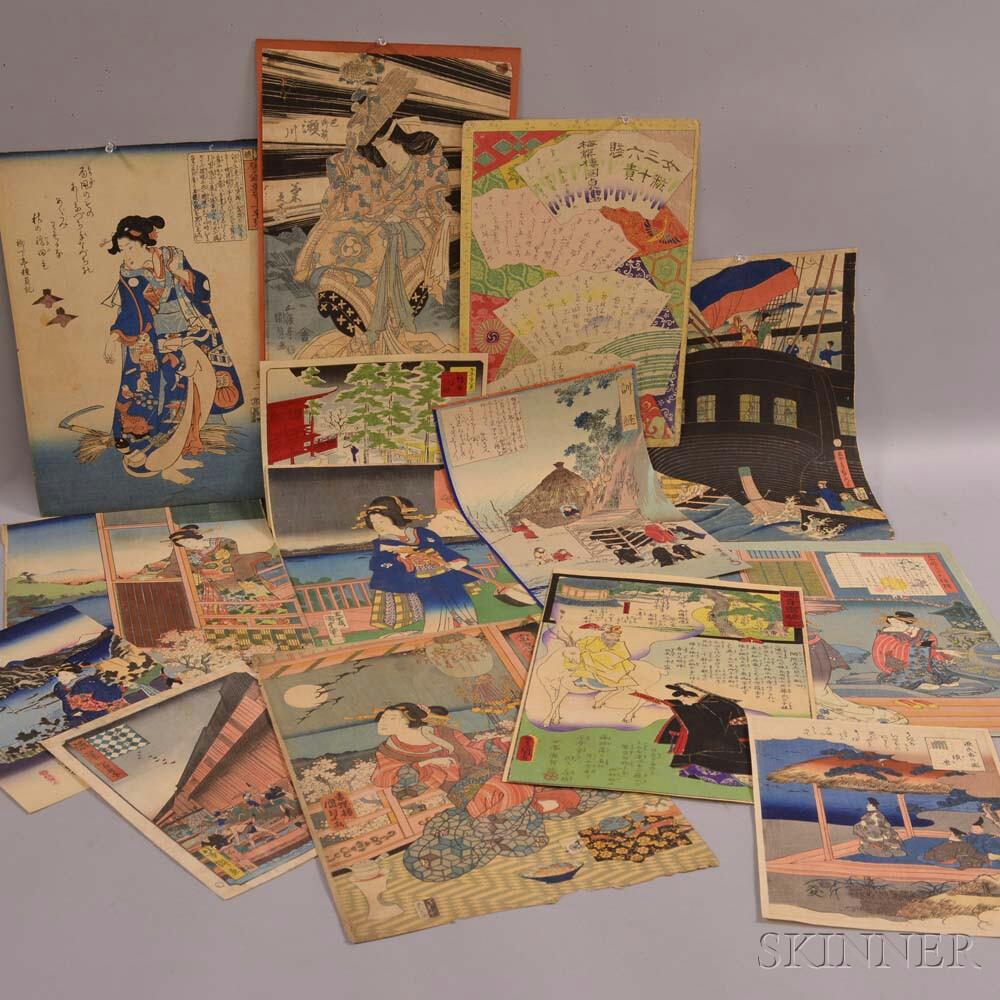 Fourteen Assorted Woodblock Prints