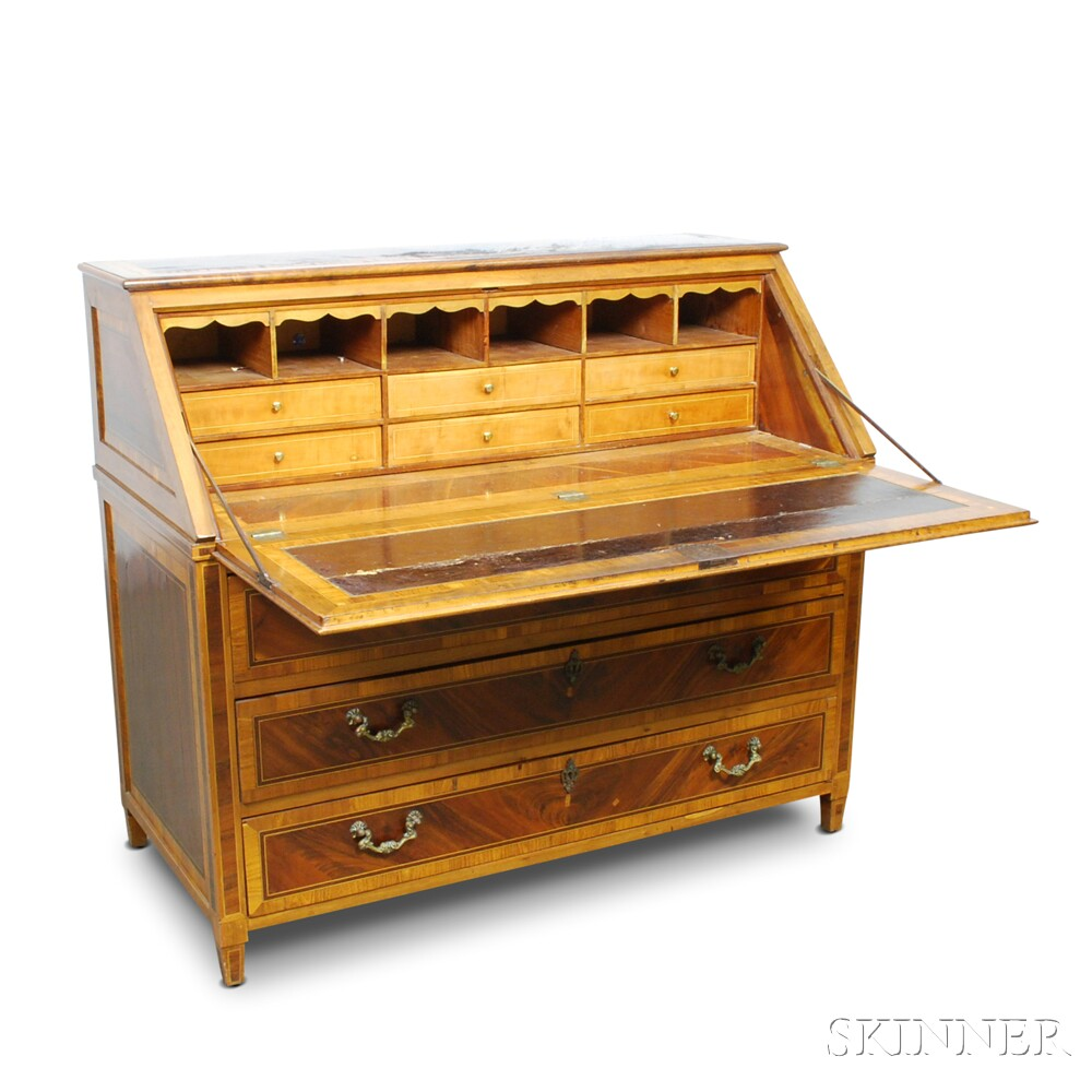 Continental Neoclassical Inlaid and Veneered Slant-lid Desk
