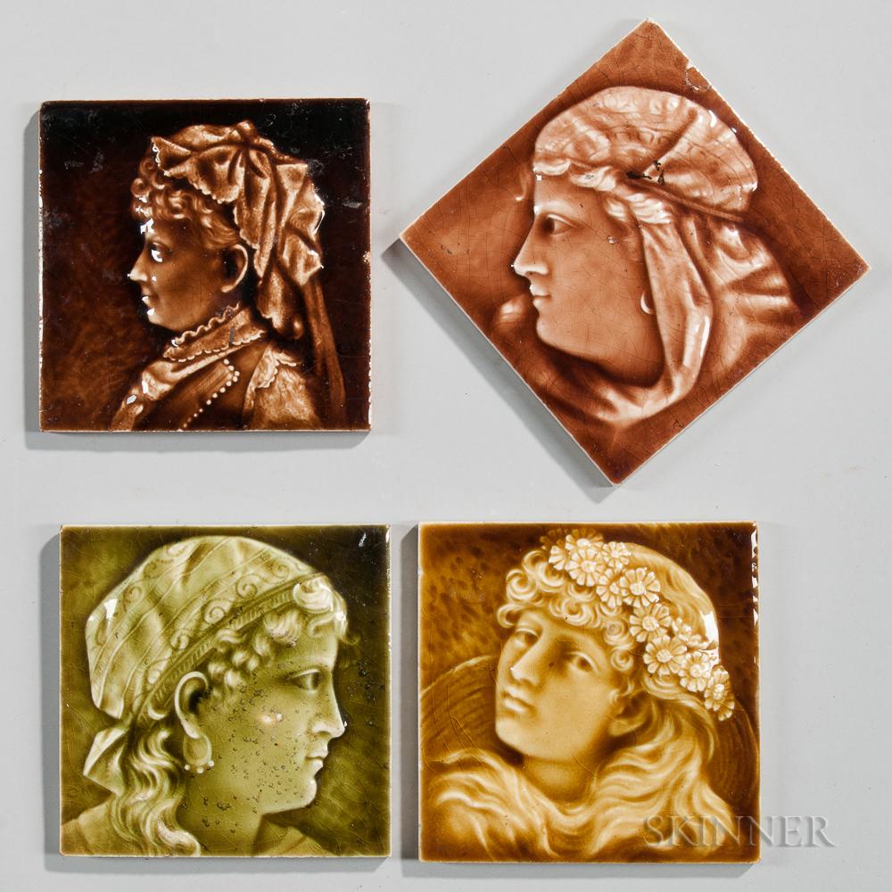 Four Providential Tile Works Art Pottery Tiles