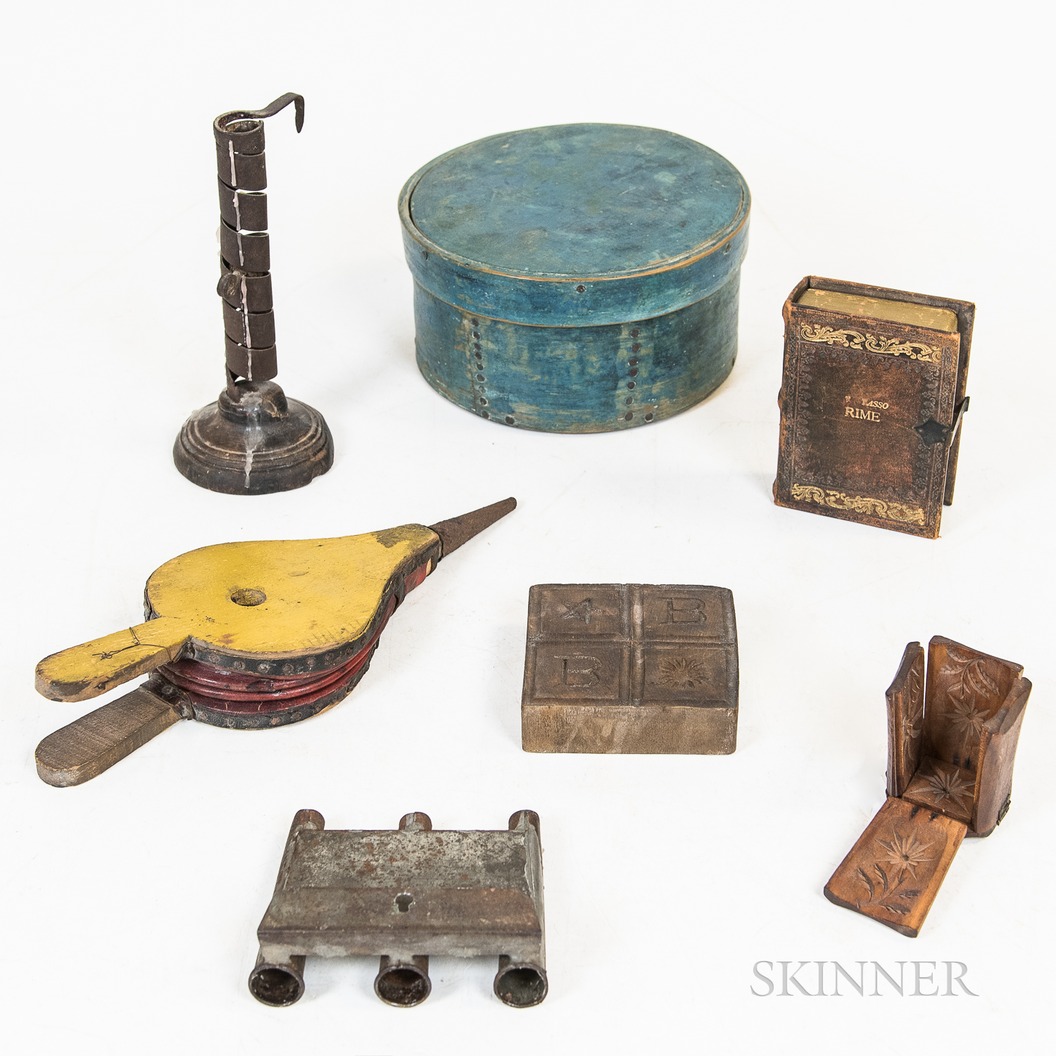 Seven Wooden and Metal Decorative Items