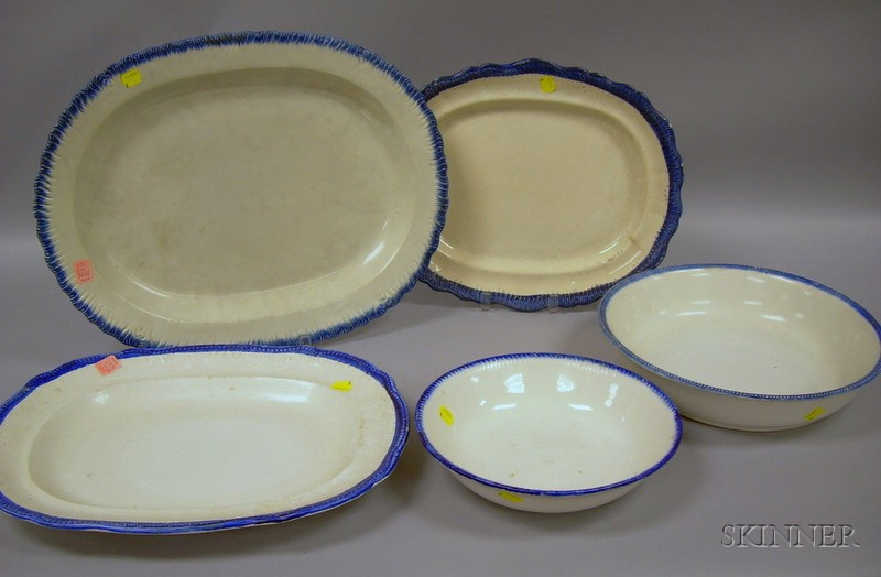 Three Leeds Blue Feather-edge Platters, a Basin, and a Bowl