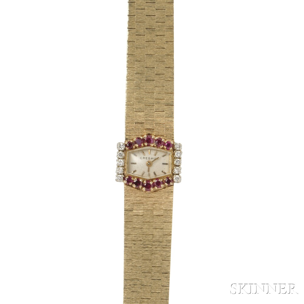 Lady's 14kt Gold, Ruby, and Diamond Wristwatch