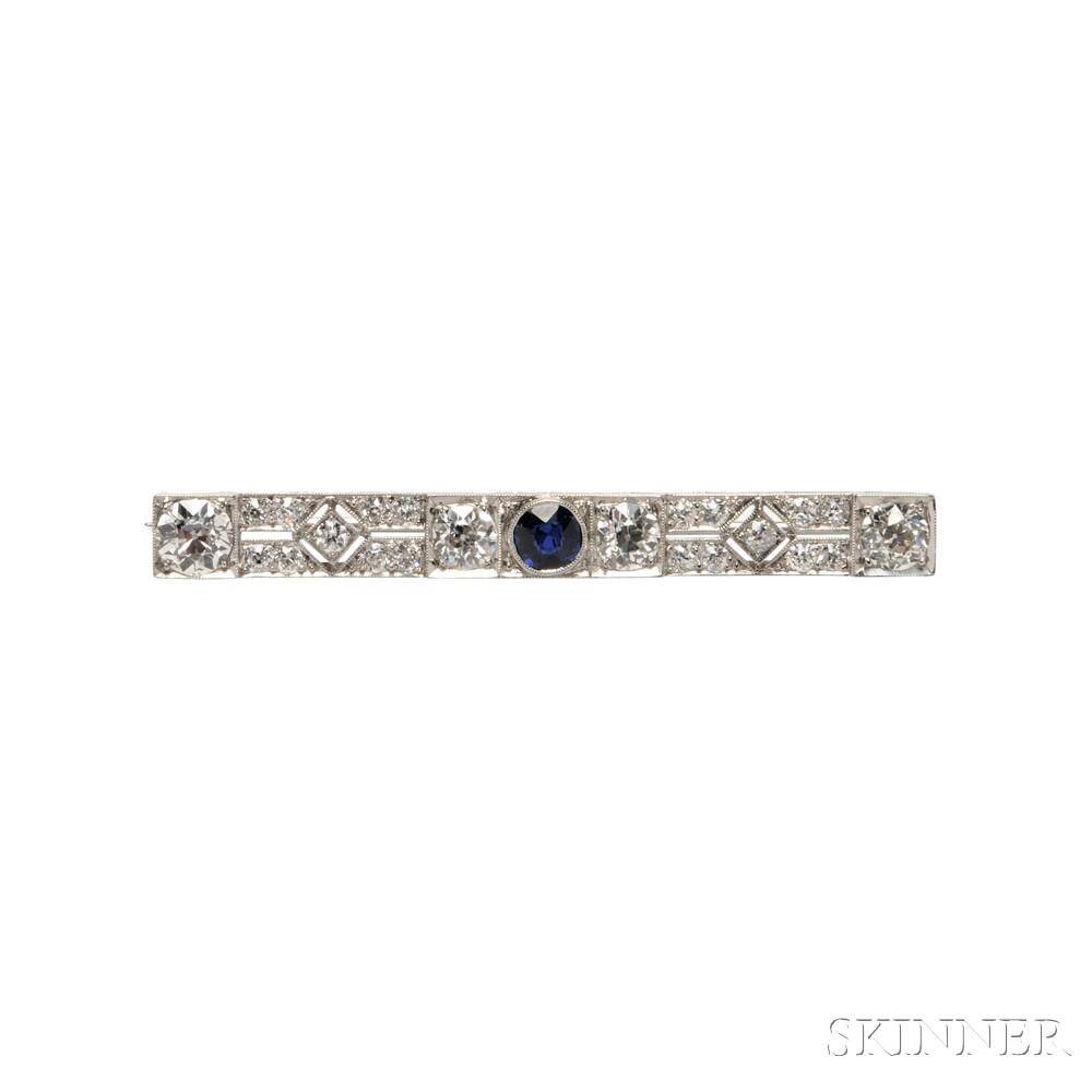 Art Deco Platinum, Sapphire, and Diamond Bar Pin