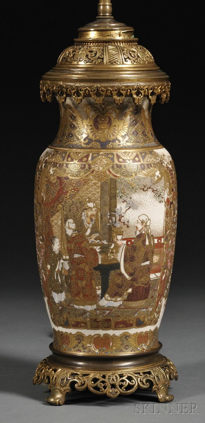 Satsuma Vase Mounted as a Lamp