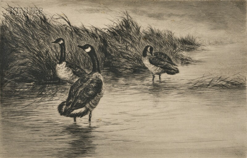 Roland Clark (American, 1874-1957)      Two Scenes with Waterfowl:  After the Blow