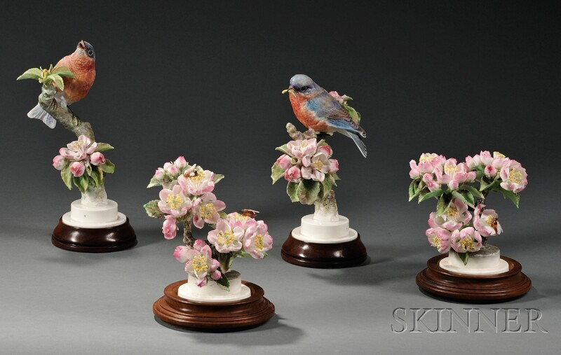 Pair of Dorothy Doughty for Royal Worcester Bone China Bluebirds with   Pair of Apple Blossoms and Bees