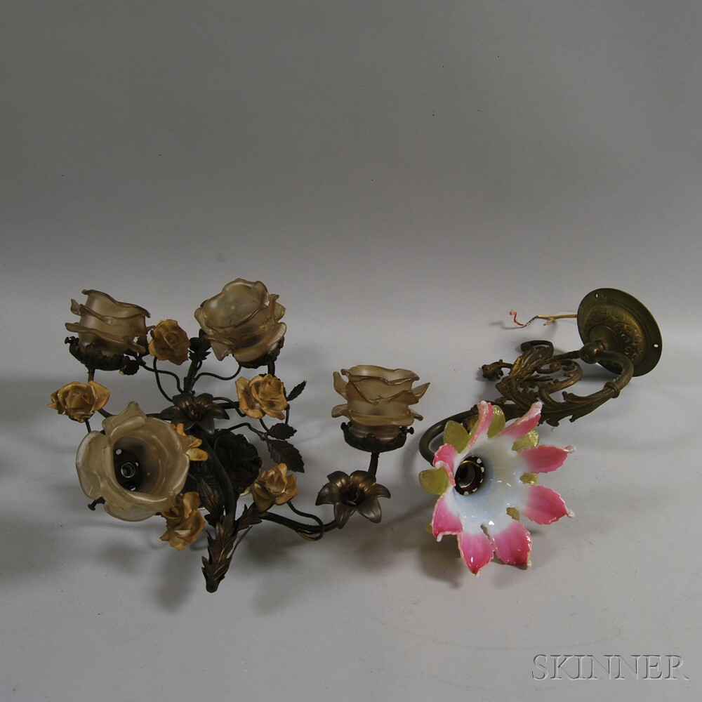 Two Bronze Floral Wall Sconces