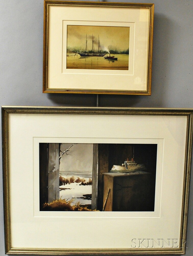 Two Framed Robert Spring (Maine, 20th Century) Watercolors