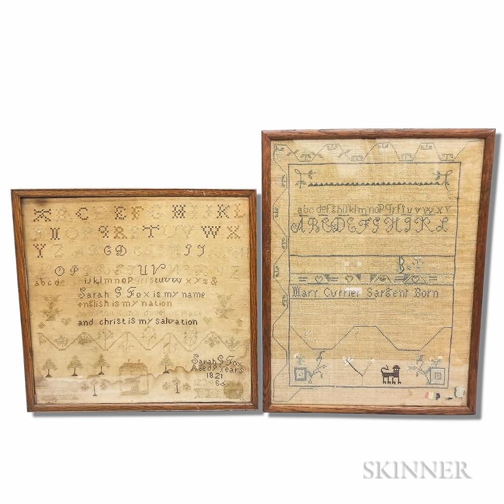Two Framed Needlework Samplers