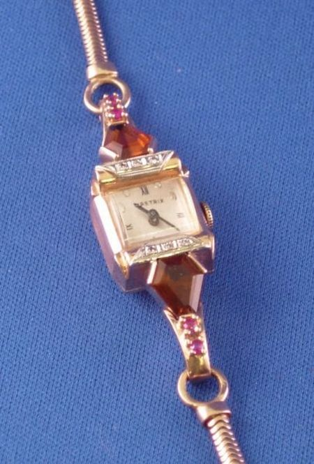 14kt Rose Gold Nasmix 17-jewel Retro Lady's  Wristwatch