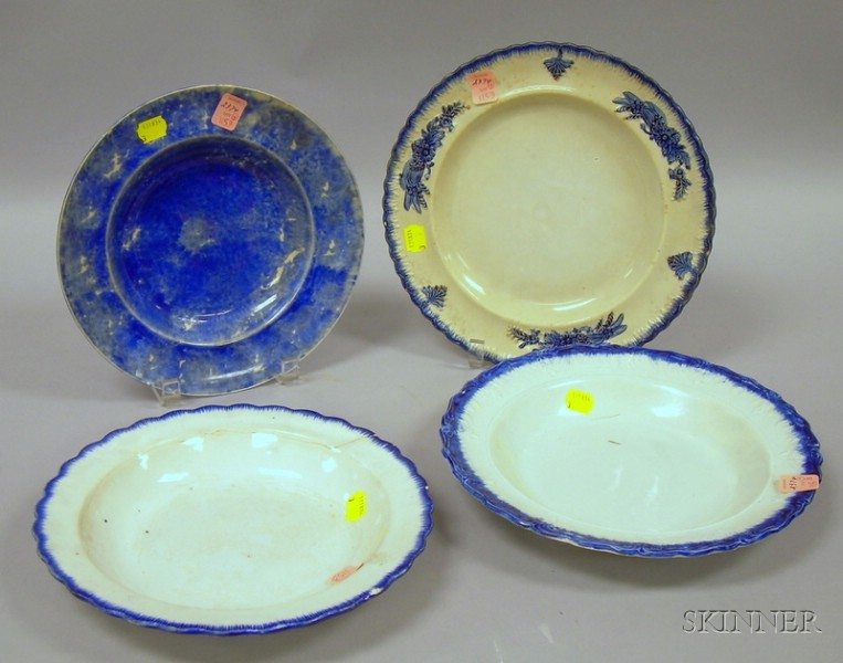 Three Staffordshire Blue Highlighted Bowls and a Plate