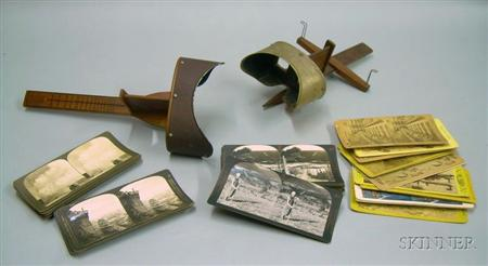 Two Wooden Stereoscopes and Thirty-eight Stereoview Cards