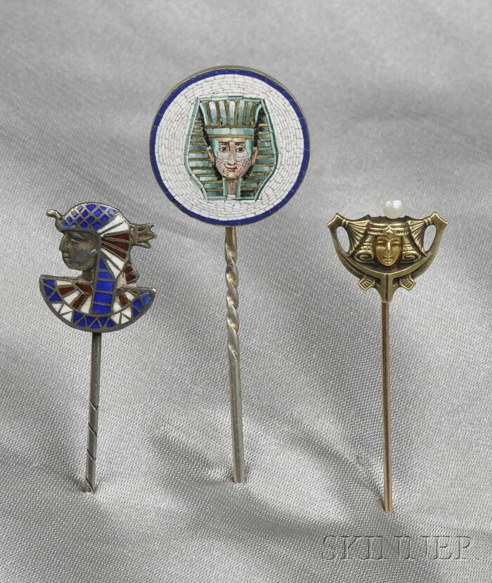 Three Egyptian Revival Stickpins