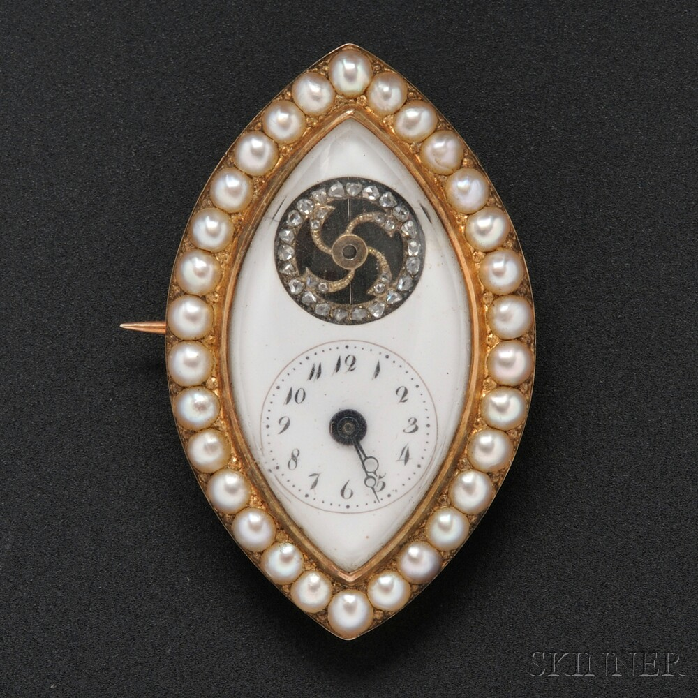 Antique Miniature Gold, Split Pearl, and Diamond Watch