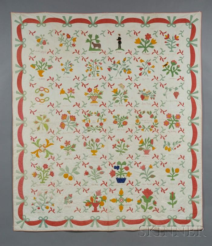 Pieced And Appliqued Cotton Album Friendship Quilt