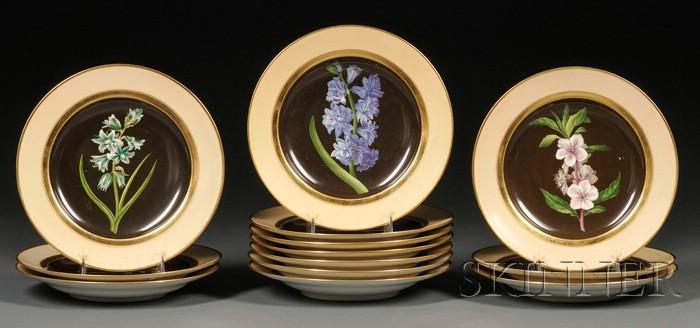 Thirteen Royal Vienna Porcelain Botanical Plates