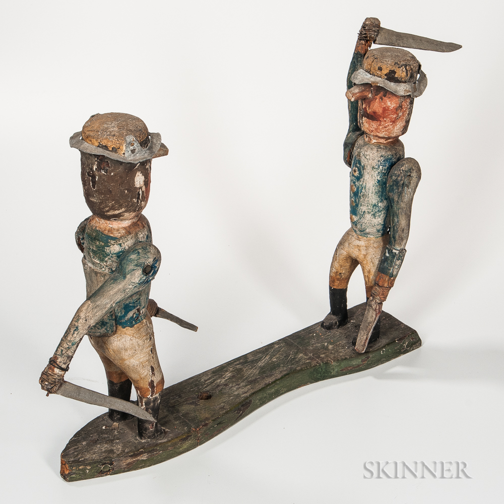 Carved and Painted Battling Militia Soldiers Whirligig