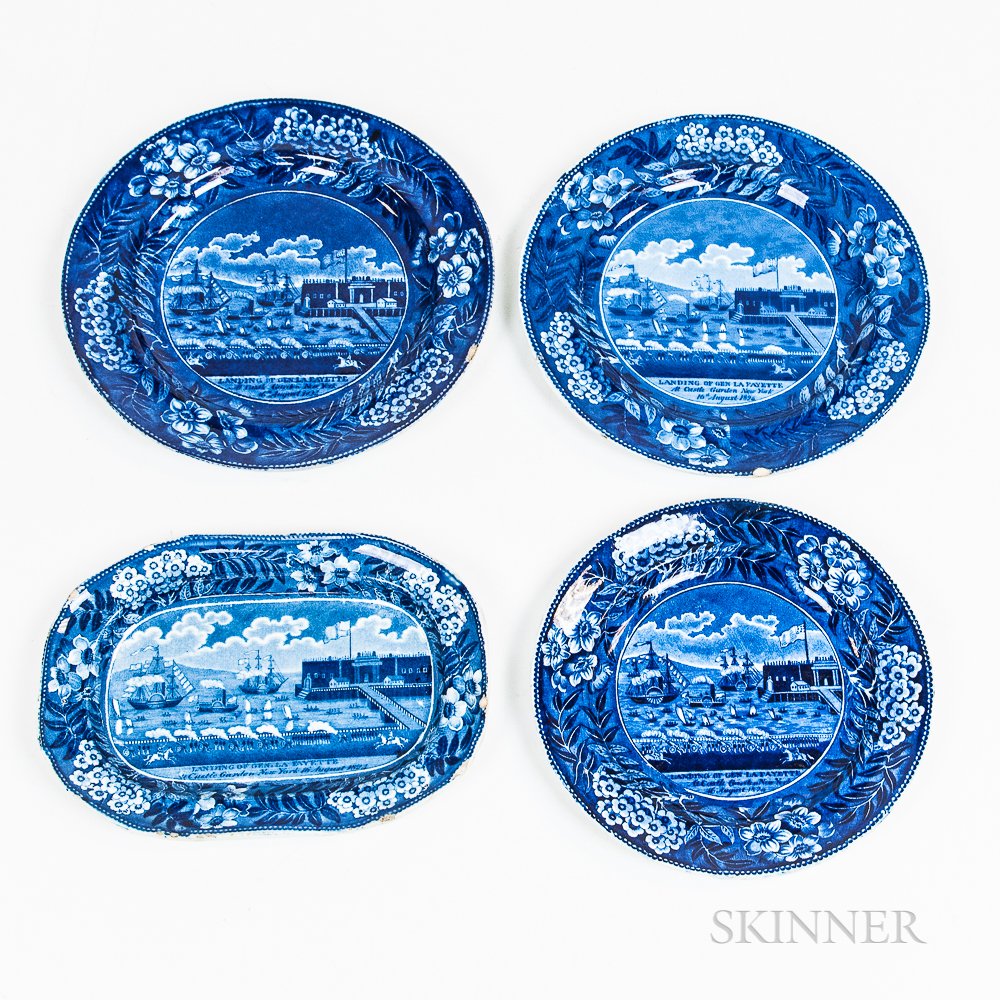 """Three Staffordshire Historical Blue Transfer-decorated """"Landing of Lafayette"""" Plates and a Rectangular Serving Dish"""