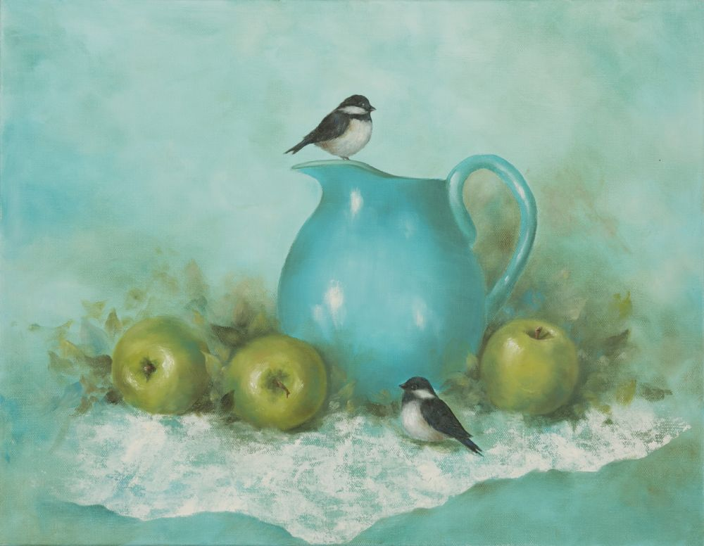 Bonnie Frederico (Massachusetts, b. 1945), Chickadee on Turquoise