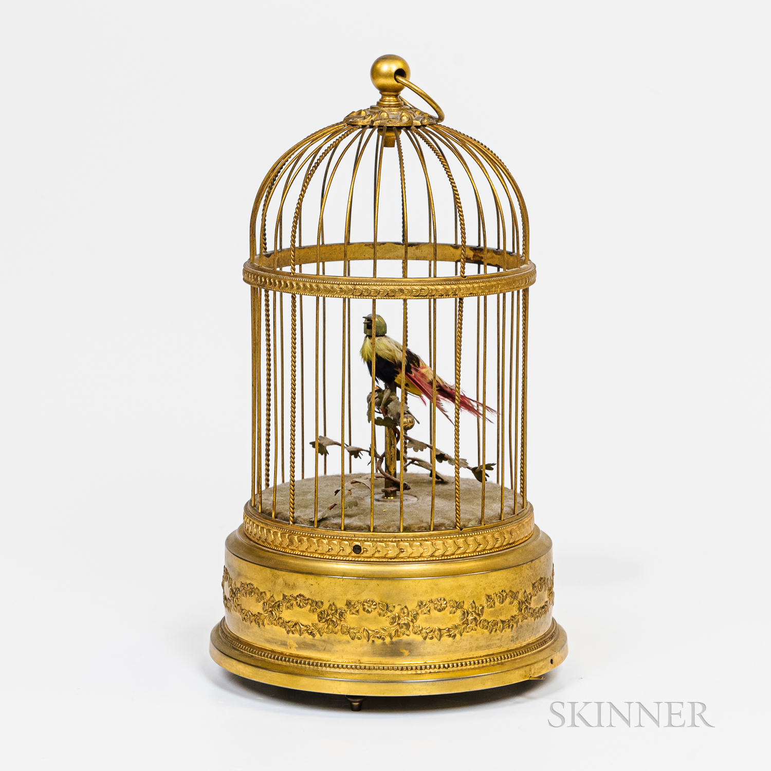 Animatronic Songbird in a Brass Cage