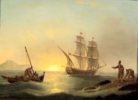 Thomas Luny (British, 1759-1837)    Shipping off the North African Coast