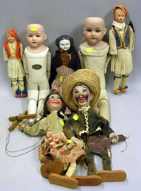 Seven Bisque, China, Celluloid and Composition Dolls