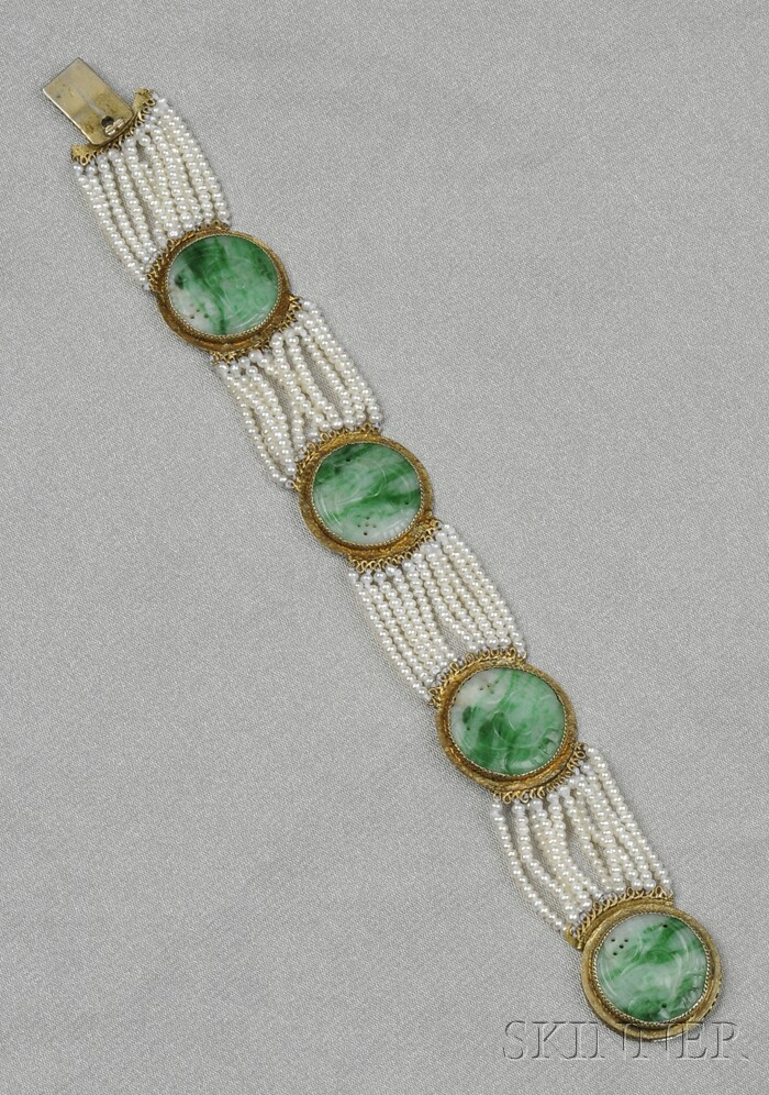 Jadeite and Cultured Pearl Bracelet, China