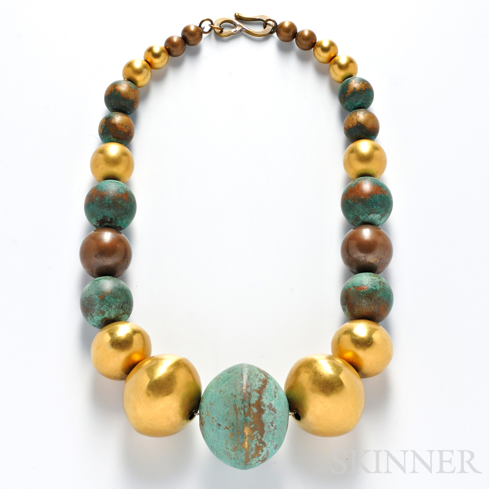 Oxidized Copper and Brass Bead Necklace, Robert Lee Morris