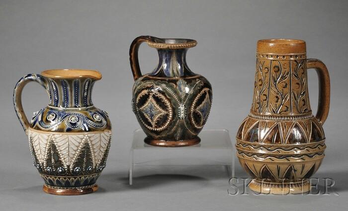 Three Doulton Lambeth Stoneware Jugs